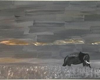 Lone Elephant Grayscale