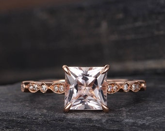 Princess Cut Engagement Ring Art Deco Rose Gold Morganite Ring Diamond Half Eternity Unique Women Bridal Anniversary Gift Solitaire Peachy
