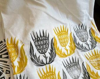 Hand-printed Thistle Flower Sack Towel