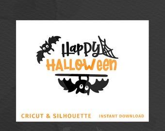 "SVG ""Happy Halloween"" Cricut Silhouette - Cut File SVG DXF, Halloween svg Happy Halloween Cut File Design Bat svg Halloween bat svg"