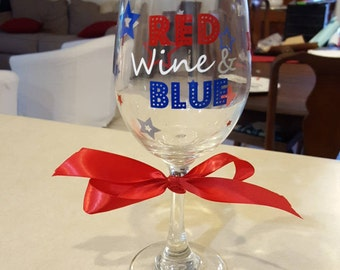 Fourth of July Wine Glass