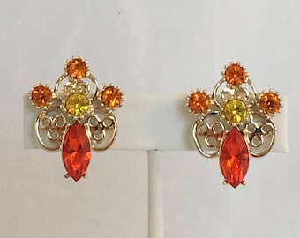 "Emmons Earrings, Rhinestones, Yellow, Orange, Gold Tone Filigree, ""Budding Romance"", Clip On, Vintage, 1960s"