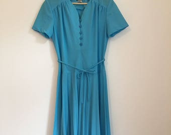 Vintage 50s Dress Pleated Dress Blue Elegant Vintage Dress Size 6 Size 8 Size 10