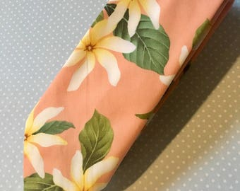 Necktie Skinny Tropical Pink Floral, Cotton