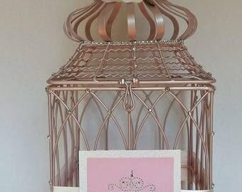 Champagne Pink Wedding Birdcage Cardholder