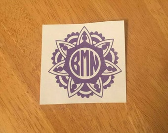 Mandala framed monogram cutout