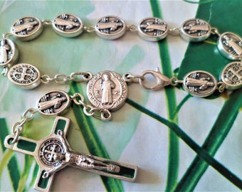 Rosary silver Metal 16 cm, religious, cross Christ Antique green enamel Silver Oval beads