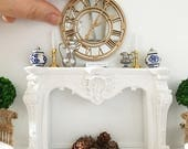 Miniature mirrored clock - antique gold wall clock - Dollhouse - Diorama - Roombox - 1:12 scale