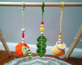 Baby gym toy set Autumn | crochet baby shower gift | pumpkin rattle candy corn rattle toy w/ wooden & silicone teether beads | READY TO SHIP