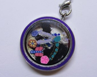 Round floating locket with handpainted dragonfly and assorted butterfly and flower charms