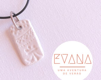 White Pattern Rectangle Necklace #10
