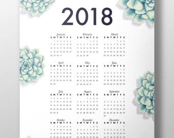 Exclusive 2018 Succulent  Desktop & Printable Calender illustrated by BaeBeeCoo