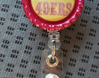 Bay Area Football - 49ners & Raiders, Retractable Badge Reel, Bottle Cap Badge Reel
