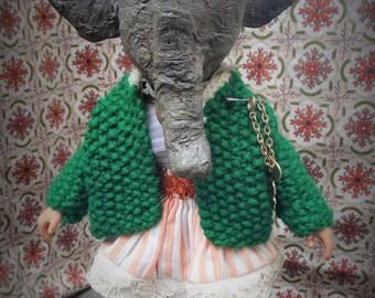 Anthropomorphic Art Doll Piper the Elephant OOAK Sculpted Handmade