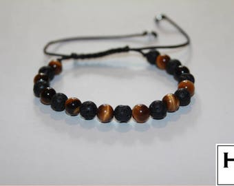 Tiger Eye & Lava Bead Bracelet / Mens Womens / Gemstone Jewellery / Adjustable / Fashion / String