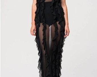 Nasty ruffle black maxi dress