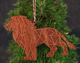 Geometric Christmas Ornament-Wooden Lion Christmas Ornament-Pet Ornament-Modern Christmas Ornament-Modern Christmas Decor- Christmas gifts