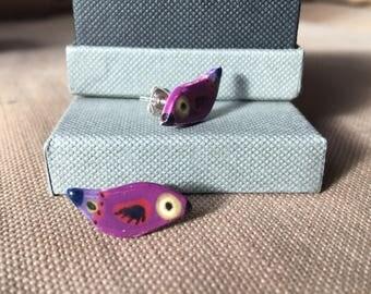 bird ceramic sterling silver earrings