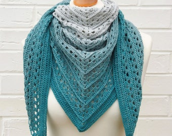 Crochet Lace Shawl, Gradient Teal to Very Light Teal, Summer Shawlette, Teal Ombre Knitted Shoulder Scarf, Crochet Lace Knitted Accessories