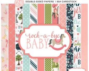 6x6 Carta Bella Paper Pad, Rock-a-Bye-Baby Girl, 24 Double Sided Baby Girl Cardstock