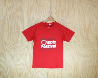 Vintage 1980's Apple Festival Michigan Red 50/50 T-Shirt  T Shirt Screen Stars S / M
