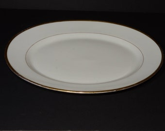 Antique LIMOGES, white china serving plate with gold edging, B & C Limoges, France, L. Bernardaud, Henry Morgan, Montreal, Canada, porcelain