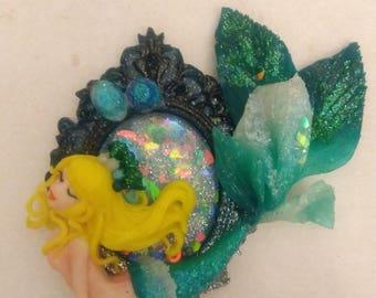 Mermaid cameo pendant, Polymer clay, Mermaid