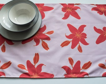 Tea Towel Made from 100% Cotton in Orange Lily Pattern