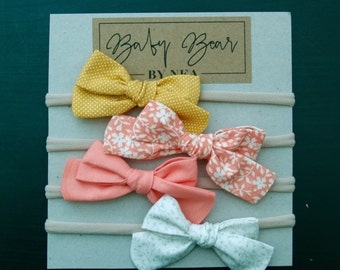 Set of 4 Baby Bows, Baby Headbands, Baby Girl Bows, Floral Bow