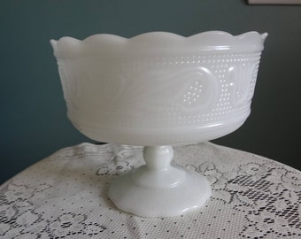 E.O. Brody Co.Footed Milk Glass Compote -Vintage Pedestal Bowl