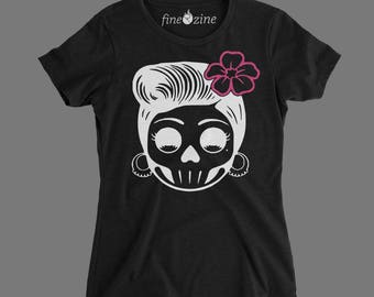 sugar skull pink flower t-shirt, ladies apparel, Woman's clothing, Tops & tees, Woman's tops, ladies shirt, t-shirts for ladies, gifts