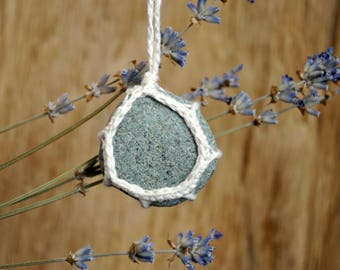 Wabi-sabi jewelry Crochet lace stone necklace River Stone pendant River rock necklace Natural stone jewelry Bohemian stone Beach necklace