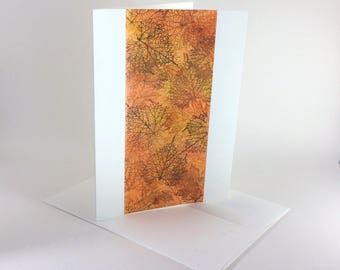 Leaf outline tapestry blank card, individually handmade: A7, notecards, fine cards,  SKU BLA71016