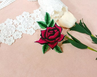 wine red rose patch/iron on patch/embroidered patch /high quality /DIY/gorgeous/for jacket
