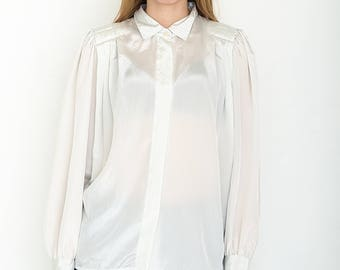VINTAGE White Long Sleeve Retro Shirt Blouse