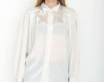 VINTAGE White Long Sleeve Retro Shirt Blouse