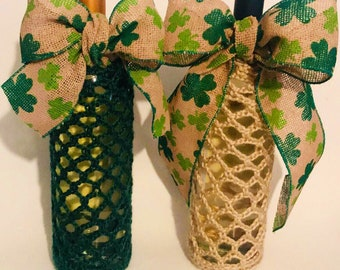 Clover bottle bags/covers with attached ribbon