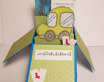 Handcrafted Congratulations on Passing Your Driving Test Box Card Car L Plates
