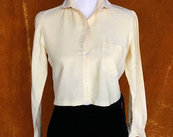 Crop Top, Vintage 1970s Blouse, Women's Small, Pastel Yellow, Repurposed Button Up