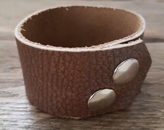 Mens genuine leather Cuff Bracelet - mens leather cuff bracelet
