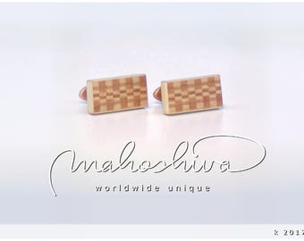 wooden cuff links wood cherry maple handmade unique exclusive limited jewelry - mahoshiva k 2017-71