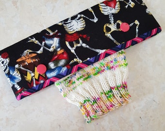 DPN holder, dancing skeletons, needle cosy, dpn cozy, needle cover, double pointed needle case, knitting, knitting gift