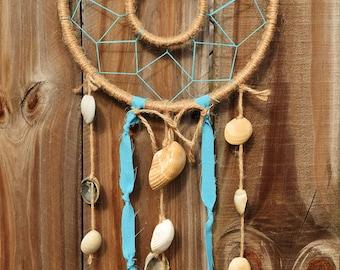 Double Hoop Dreamcatcher with Seashells Wall Hanging