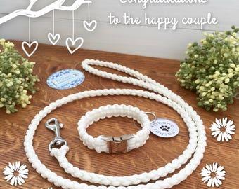 Wedding Dog Leash and Collar Set, Thin White Dog Collar, Thin White Dog Leash
