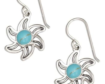 Sterling Silver Outline Sun Earrings with simulated Turquoise Stone center
