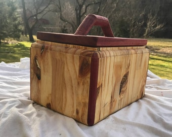 Handmade-Cedar and pine trinket or jewelry box.