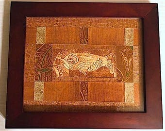 Copper Fish Textured Paper and Fabric Collage Art (Framed)