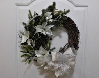 Christmas Grapevine Wreath, Winter Grapevine Wreath, Winter White Natural Wreath