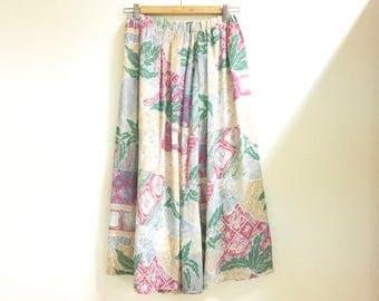 Floral maxi midi skirt m/l
