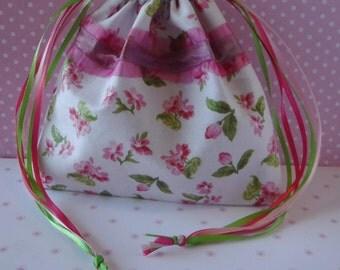 Pink Floral - Drawstring Bag - Tarot Bag Pouch - Cotton Tarot Bag - Tarot Bag - Fabric Bag - Wicca Pagan - Runes Bag - Gift Bag - Tarot Deck